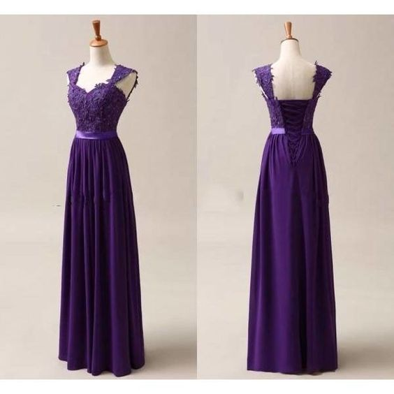 Purple Chiffon Corset Long Bridesmaids Dress, Formal Prom Dress