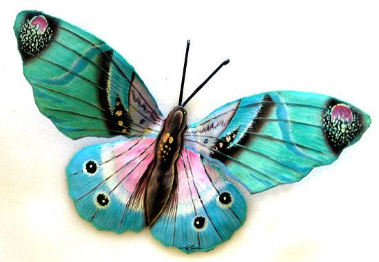 Hand cut from old metal barrels, Made by Artist in Haiti! Aqua Butterfly Metal Wall Decor 22 Painted by TropicalMetal, $42.95