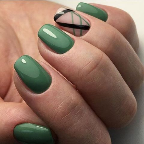 Simple green nail art design | Маникюр | Видео уроки | Art Simple Nail: