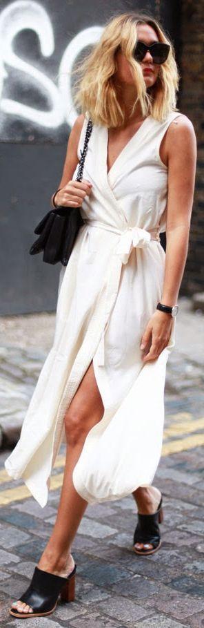 Ivory Wrap Sleeveless Belted Maxi Dress