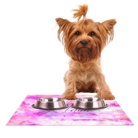 """Ebi Emporium """"Je T'aime II"""" Abstract Pink Dog Place Mat"""