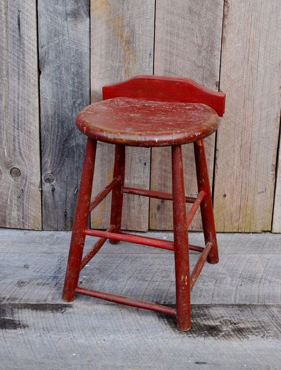 Dark Red Wooden Stool Primitive Rustic by RelicsAndRhinestones | Spectacular Vintage Furniture Faves on Etsy | Pinterest | Wooden stools ... & Dark Red Wooden Stool Primitive Rustic by RelicsAndRhinestones ... islam-shia.org