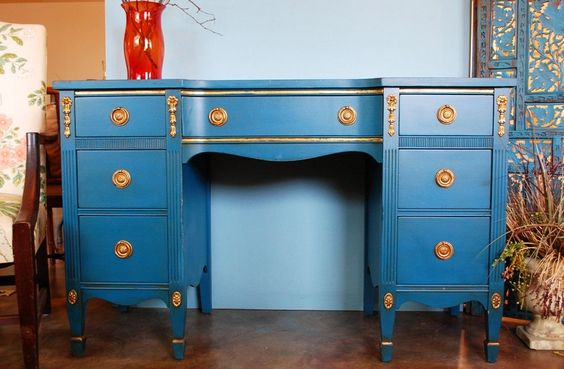 Vintage Painted Furniture Desk Dressing Table small by EnvyAlley