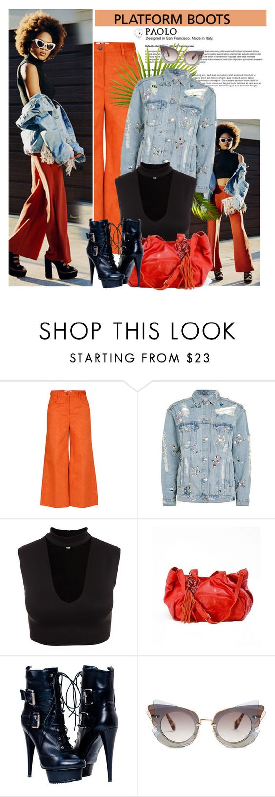 """""""Kickin' It: Platform Boots: PaoloShoes"""" by spenderellastyle ❤ liked on Polyvore featuring Topshop and Miu Miu"""