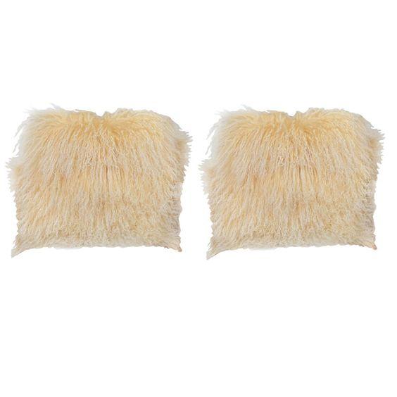 Buttercup Mongolian Lamb Pillows   1stdibs.com