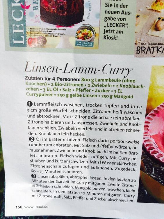 Linsen Lamm Curry