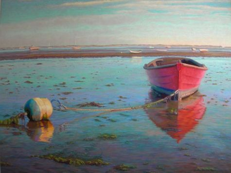 """""""Red Mahogany Boat"""" Soft pastel painting by Nancy Poucher"""