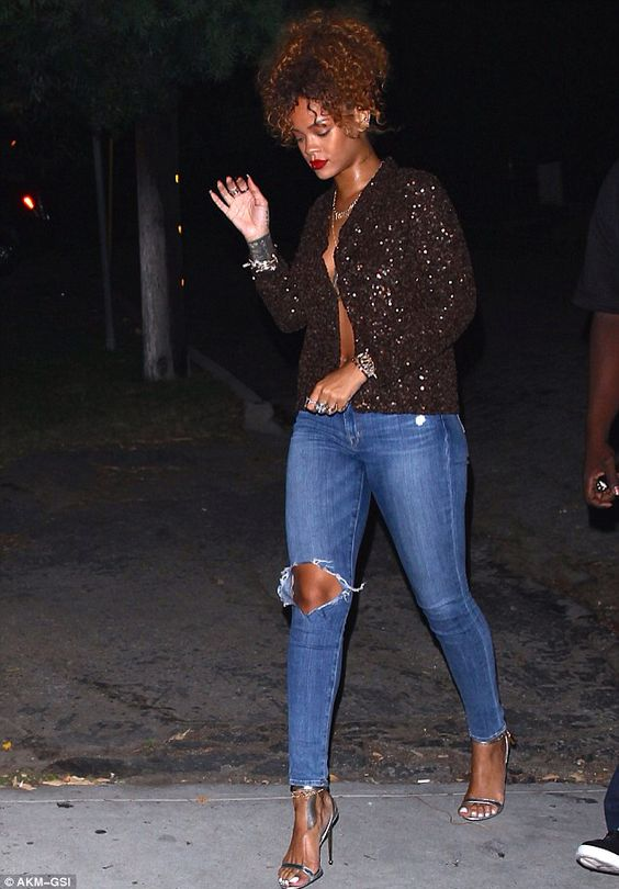 Rihanna Wearing Sequin Jacket Ripped Skinny Jeans And Tom