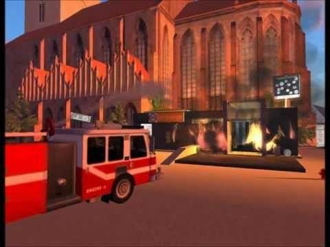 Brandanschlag auf die DX Bank in Berlin - Feuerwehr Einsatz - Löscharbeiten HD Secondlife 2012