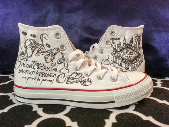 Harry Potter Converse Shoes: https://www.etsy.com/listing/209527438/converse-marauders-map-harry-potter?: