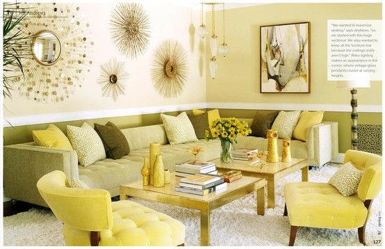 Wall Colors That Match With Olive Green Couch And Yellow Living Room Sunburst Mirrors Dream Home Pinterest Couches