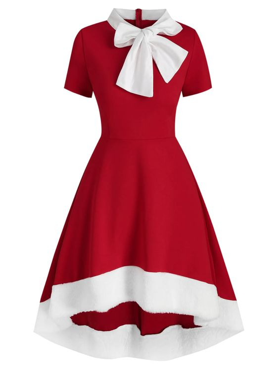 Vintage red and white Christmas dress