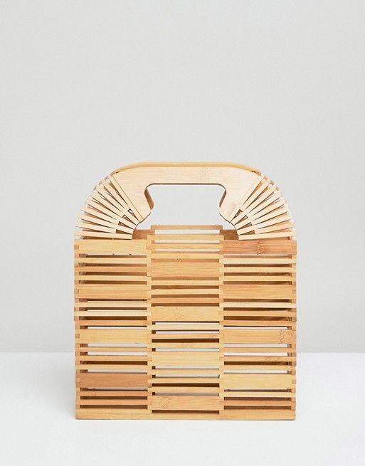 ASOS | ASOS DESIGN - Pochette rigide carrée en bambou