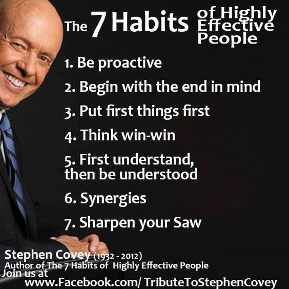 The 7 Habits of Highly Effective People. ~ Stephen Covey