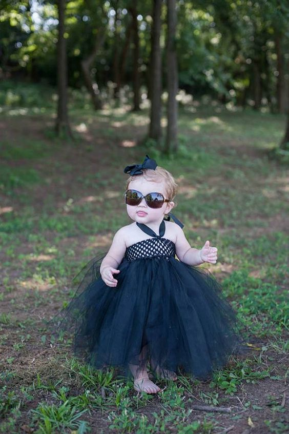 Audrey Hepburn Inspired Black tutu dress with matching black hair bow