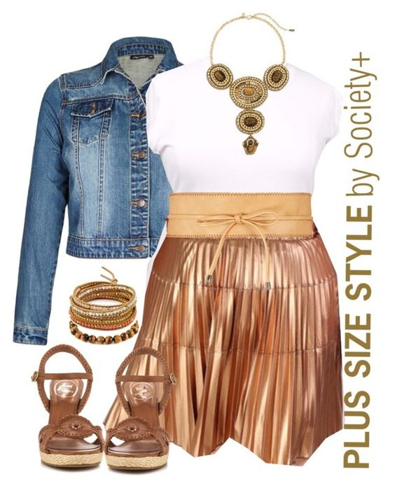 """Plus Size Bronze Skirt - Society+"" by iamsocietyplus ❤ liked on Polyvore featuring Kane, Chico's, Jack Rogers, Ettika, Chan Luu, plussize, plussizefashion, societyplus and iamsocietyplus"