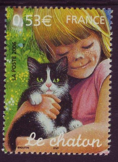 Le chaton - The kitten   French postage stamp, 2006   illustrator Christian Broutin:
