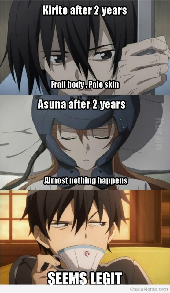 Well he was doing all the suffering and saving Sword Art Online