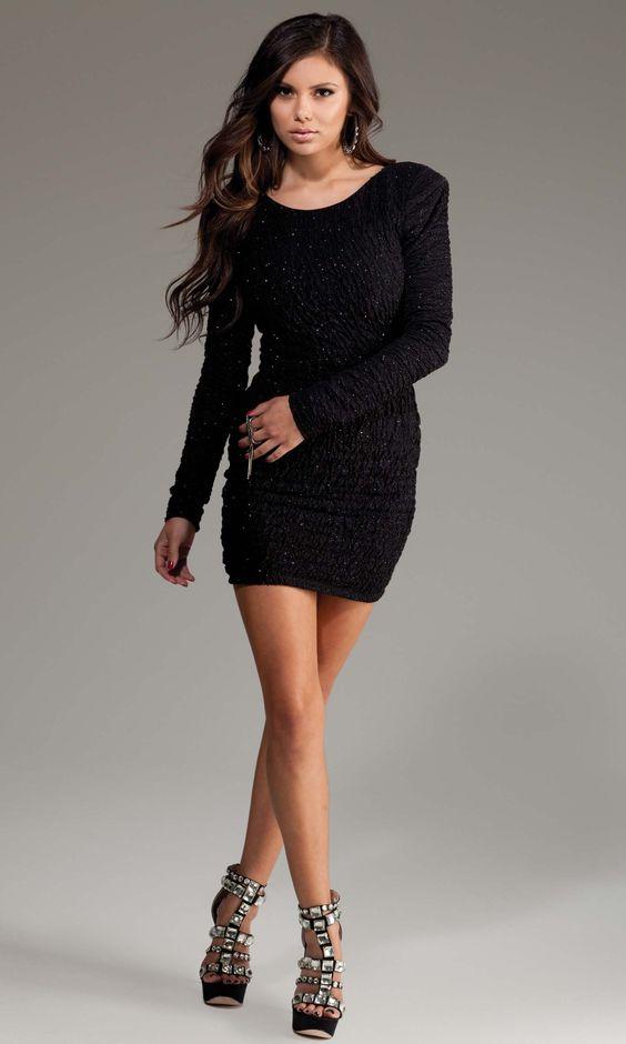 Madison - Textured long sleeve mini dress Black - Fashion ...
