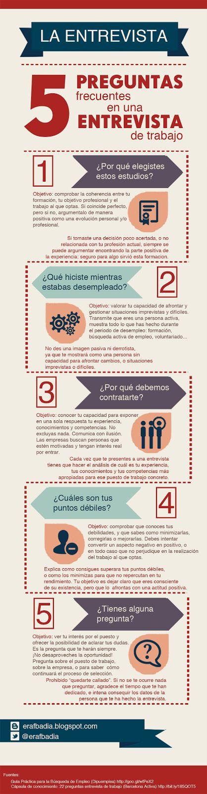 5 preguntas frecuentes en una entrevista de trabajo #infografia #infographic #empleo:
