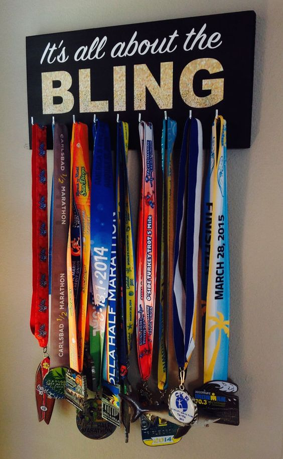 Its all about the BLING - Black with white and Gold Glitter letters  What a great way to display your race medals! Race medal holders are solid