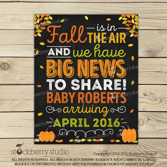 Fall Pregnancy Announcement Sign Printable  by stockberrystudio