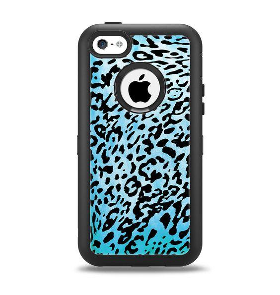The Hot Teal Cheetah Animal Print Apple iPhone 5c Otterbox Defender Case Skin Set
