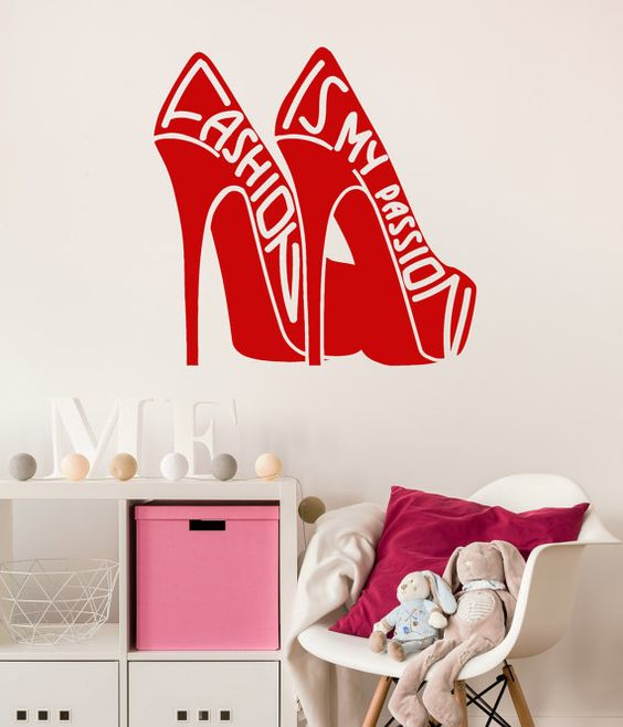 vinyl wall decal fashion quote girl room shoes by