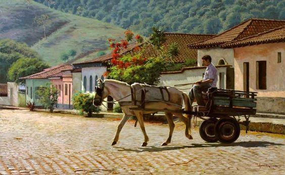 Carroça na cidade. Pintura do artista plástico José Rosário