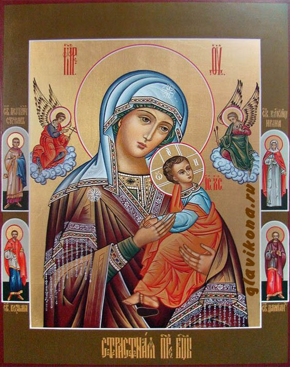 Russian Orthodox Strastnaya icon also known as Our Lady of Perpetual Help icon and as the Virgin of the Passion or Theotokos of the Passion: