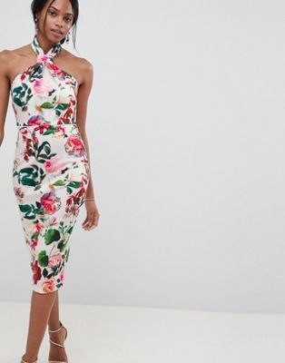 ASOS DESIGN - Robe mi-longue dos nu à fleurs