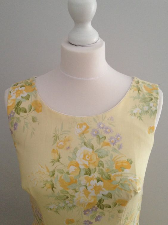 Yellow floral dress vintage style dress vintage by FavouriteDress