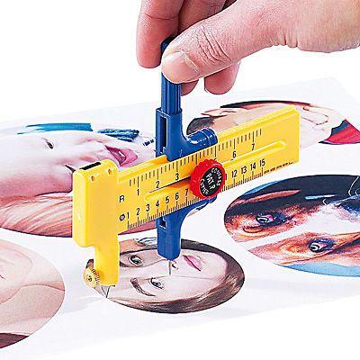 TAGLIERINA CIRCOLARE A COMPASSO PER ETICHETTE ROTONDE CON 5 LAME E 2 MINE | eBay