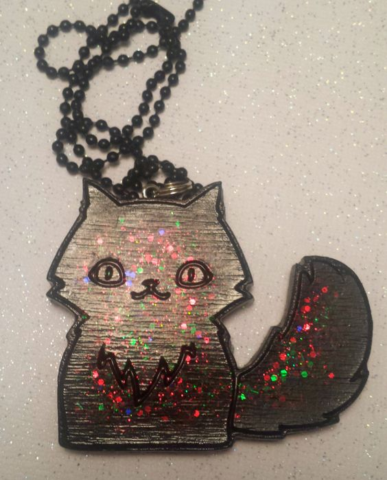 Kitty Necklace / Glitter Kitty Cat Jewelry / Black Cat Gothic Christmas Pendant / Gothic Gift / Black Christmas / Glittery Kitty by CultBLACK on Etsy https://www.etsy.com/listing/213658599/kitty-necklace-glitter-kitty-cat-jewelry