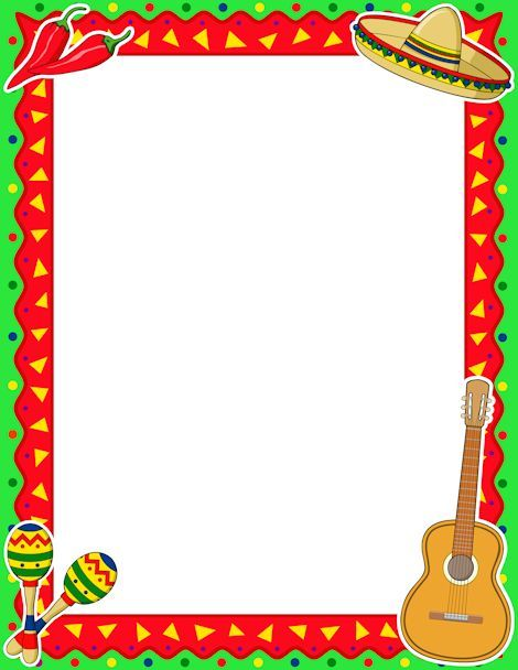 Printable Cinco de Mayo border. Free GIF, JPG, PDF, and PNG downloads at http://pageborders.org/download/cinco-de-mayo-border/: