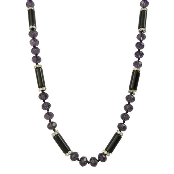 Bella Rose Fashion Long Purple and Black Crystal Necklace