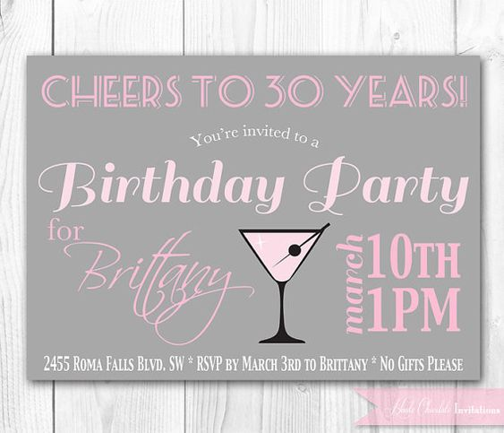 Chic Cocktail Birthday Invitation. 30th Birthday Invitation. DIY Printable Birthday Party Invite.. $14.00, via Etsy.