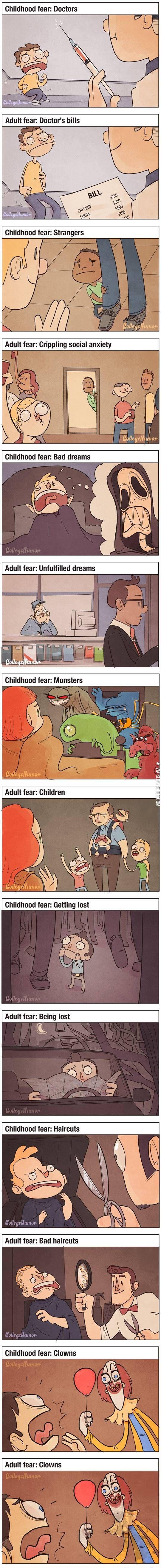 Childhood vs. adult fears.