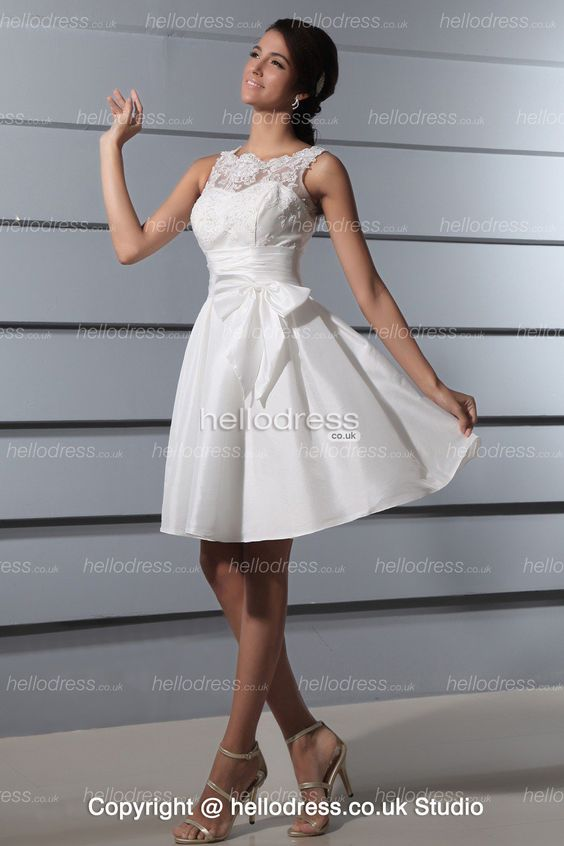 Short Taffeta Straps Empire Waist Elegant Wedding Dress With Bow ...