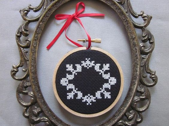 i like this idea empty frame and swap out cross stitch designs suspended in center