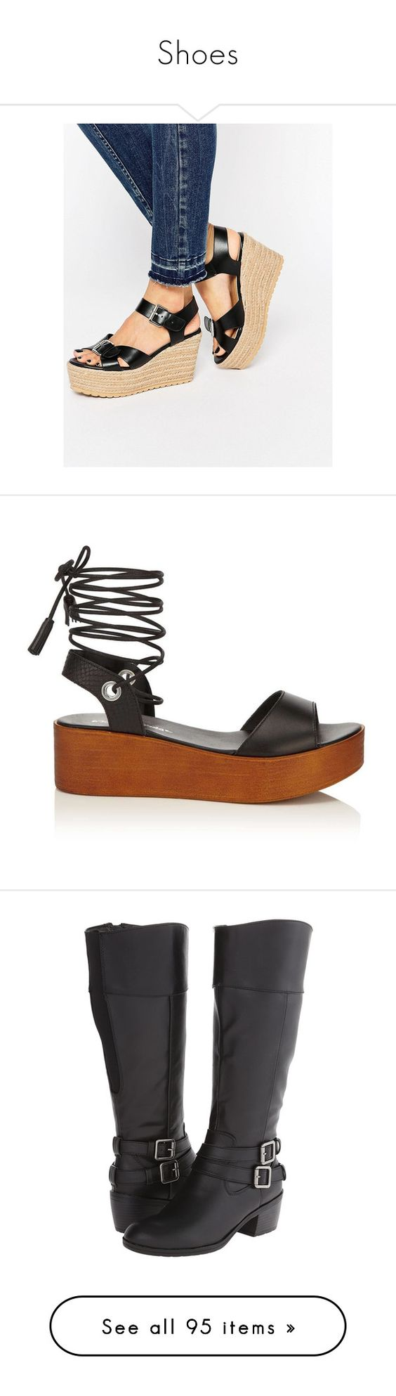 """""""Shoes"""" by auricru ❤ liked on Polyvore featuring shoes, sandals, black, asos shoes, braided wedge sandals, high wedge sandals, high heel wedge sandals, black sandals, wedge heel sandals and black flatform shoes"""
