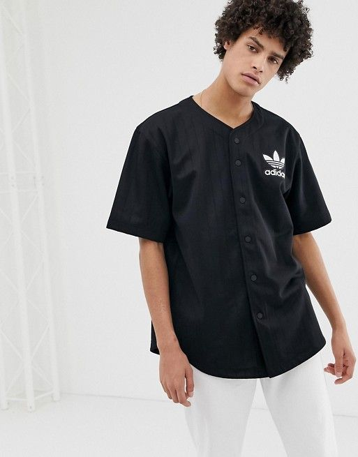 adidas Originals Baseball Jersey With Back Embroidered Logo and ...