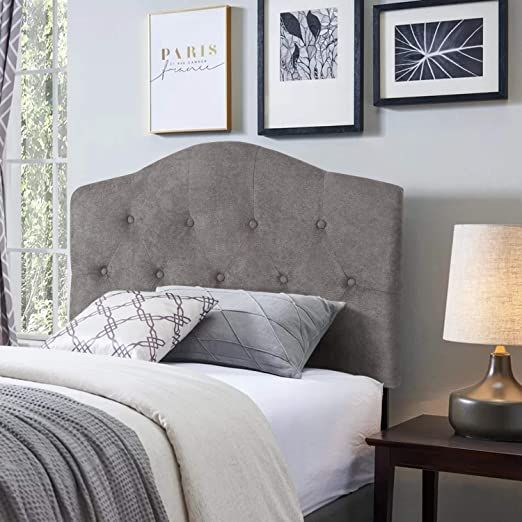 Twin Upholstered Headboard Button Tufted Fabric Headboard With Adjustable Height Gray In 2020 Gray Upholstered Headboard Twin Upholstered Headboard Fabric Headboard