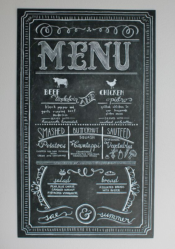 Beautiful custom chalk wedding menu - Design by Laura Jean http://designbylj.wordpress.com/: