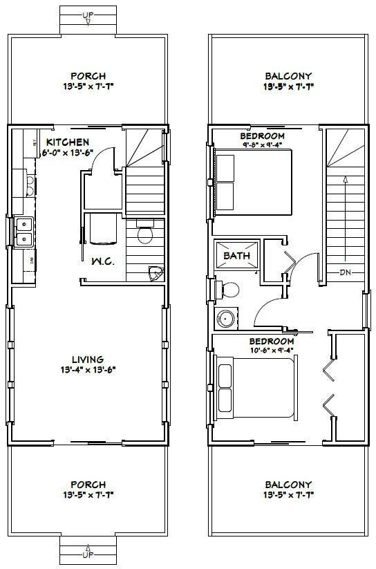 14x28 House 2 Bedroom 1 5 Bath 749 Sq Ft Pdf Floor Plan Instant Download Model 6a Small Apartment Floor Plans Tiny House Floor Plans Tiny House Layout