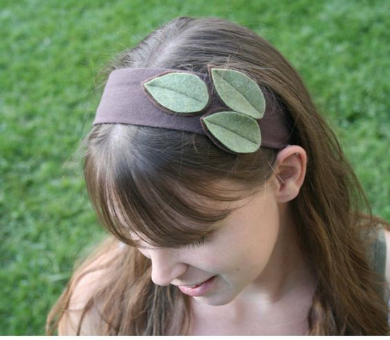Green Leaves Headband  FREE SHIPPING  Felt leaves by Circuitry, $20.00