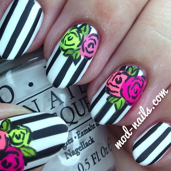 Instagram photo by  modnails: Modnails Betsey, Nails Nails, Floral Nails, Nail Designs, Modnails Nailart, Johnson Inspired, Betsey Johnson, Nail Art
