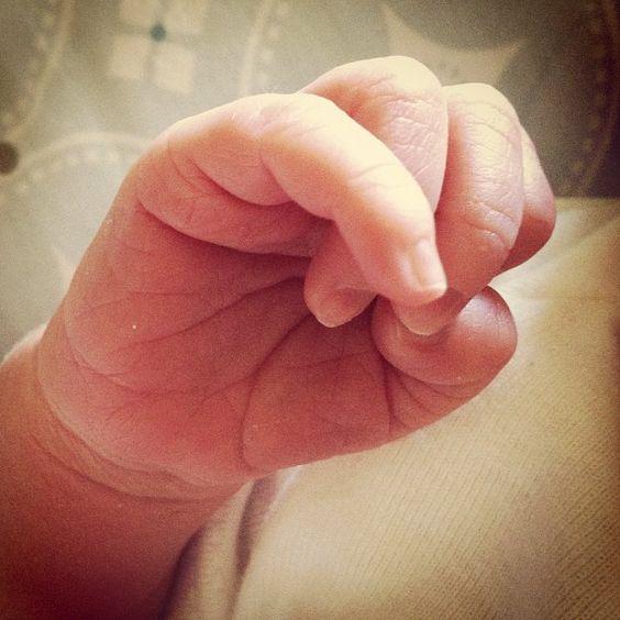 Instagram photo of my newest granddaughter's hand ... Keeva Jane Denisof