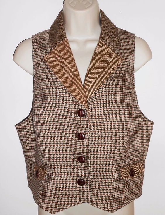 Ann Taylor LOFT 12 Wool Vest Brown Plaid Tweed #AnnTaylorLOFT