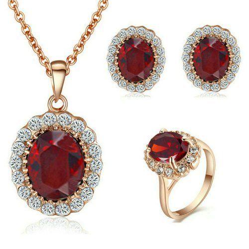 Parure de bijoux de No/ël pour femme de luxe avec collier et boucles doreilles en strass Rouge